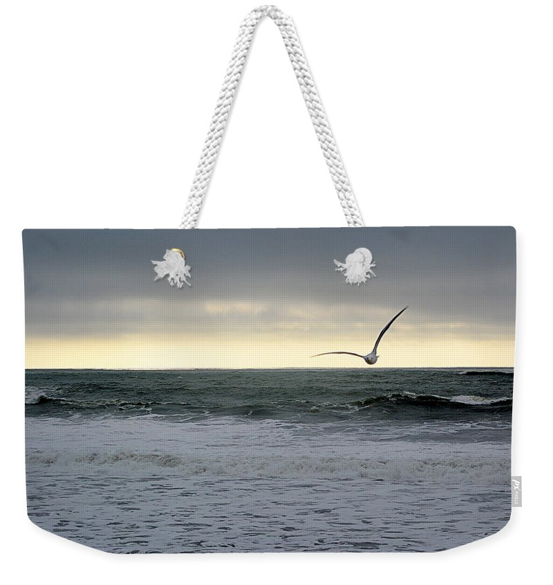 Scenic Weekender Tote Bag featuring the photograph Stormy Seas by AJ Schibig