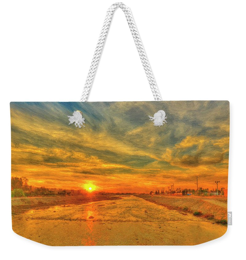 Sunset Weekender Tote Bag featuring the painting Stormy Sunset Over Santa Ana River by Angela Stanton