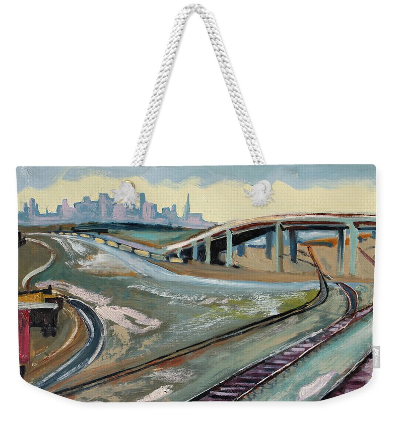 Landscape Painting Weekender Tote Bag featuring the painting Stormy Train Tracks And San Francisco by Asha Carolyn Young