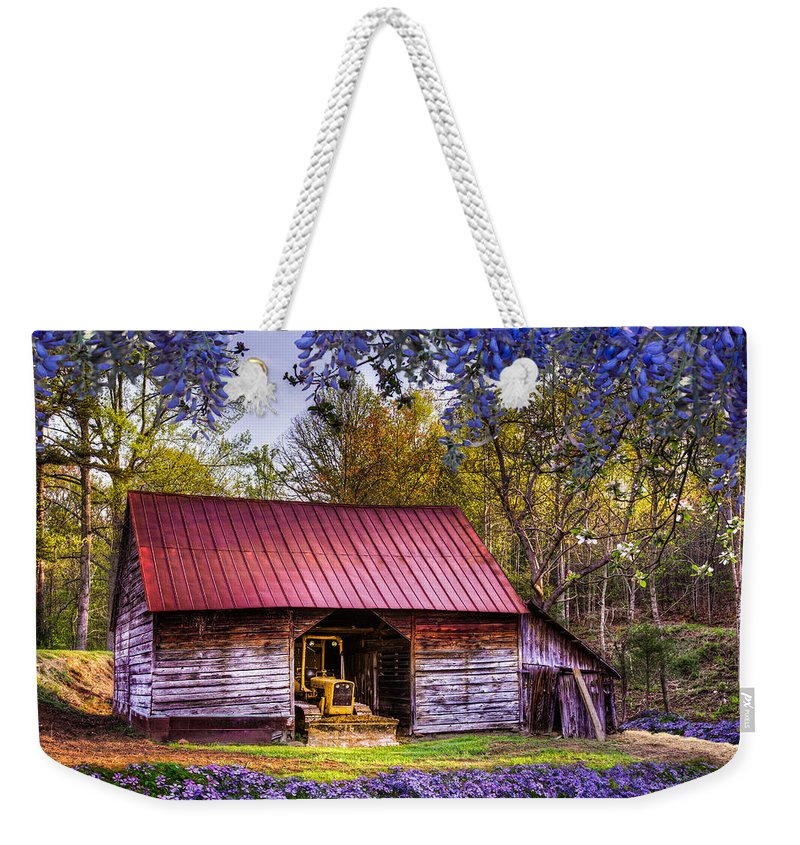 Appalachia Weekender Tote Bag featuring the photograph Storybook Farms by Debra and Dave Vanderlaan