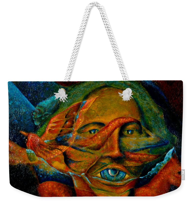 Native American Weekender Tote Bag featuring the painting Storyteller by Kevin Chasing Wolf Hutchins