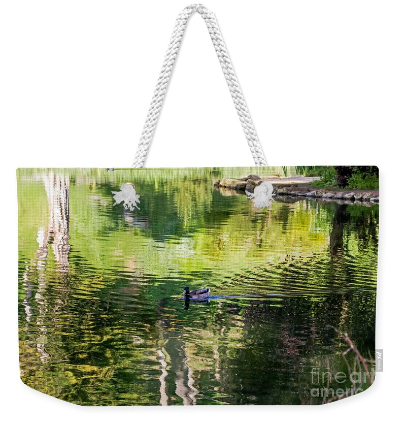 Anas Platyrhynchos Weekender Tote Bag featuring the photograph Stow Lake Idyll by Kate Brown