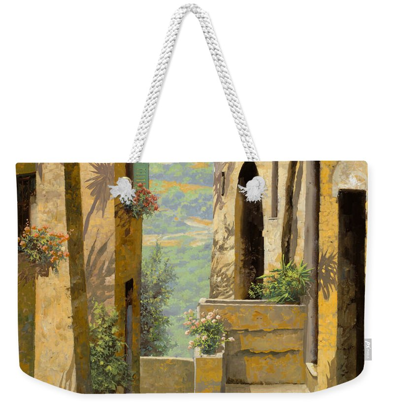 Landscape Weekender Tote Bag featuring the painting stradina a St Paul de Vence by Guido Borelli