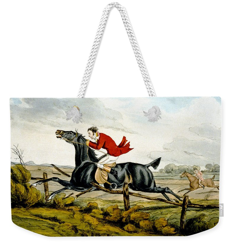 Black; Horse; Hunter; Rider; Out Of Control; Breaking; Jumping; Landscape; Speed; Comical; Humorous Weekender Tote Bag featuring the painting Straight Through The Fence From Qualified Horses And Unqualified Riders by Henry Thomas Alken