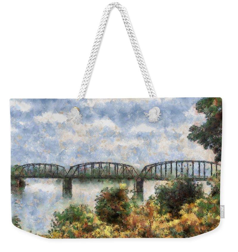 Strang Weekender Tote Bag featuring the painting Strang Bridge by Jeffrey Kolker