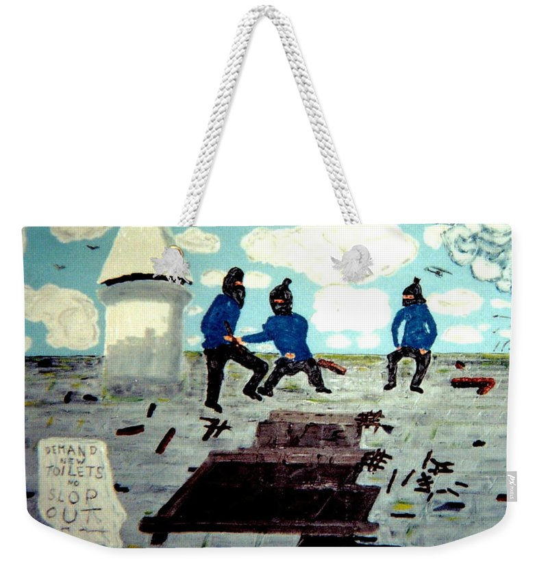 Historical Weekender Tote Bag featuring the painting Strangeways Prison Riots Uk.1990s by MERLIN Vernon