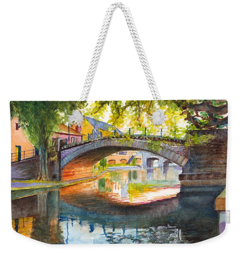 River Weekender Tote Bag featuring the painting Strasbourg Autumn Evening by Dai Wynn