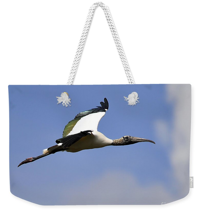 Stork Weekender Tote Bag featuring the photograph Stratostork by Al Powell Photography USA