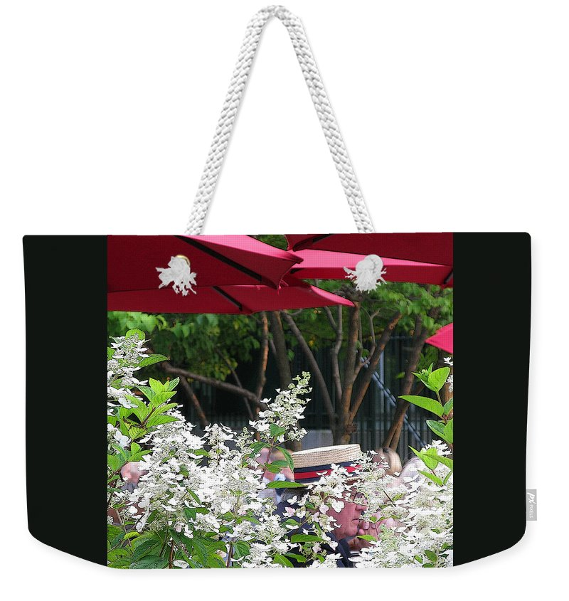 Umbrella Weekender Tote Bag featuring the photograph Straw Hat by Ann Horn