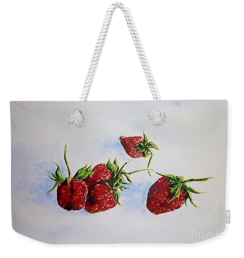 Strawberries Weekender Tote Bag featuring the painting Strawberries by Zaira Dzhaubaeva