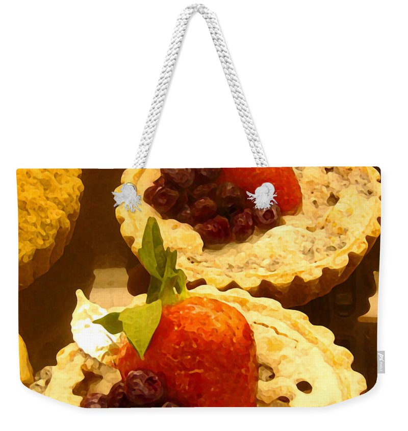 Food Weekender Tote Bag featuring the painting Strawberry Blueberry Tarts by Amy Vangsgard