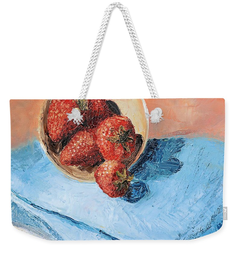 Strawberry Weekender Tote Bag featuring the painting Strawberry Bowl by Regina Davidson