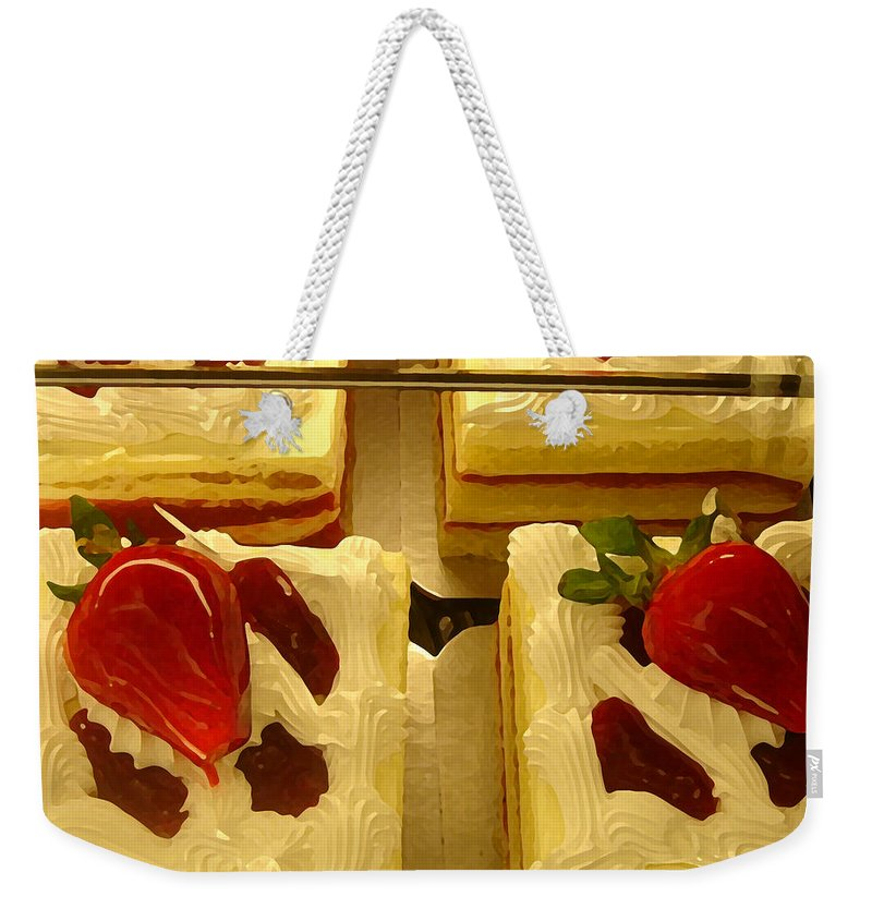 Kitchen Weekender Tote Bag featuring the painting Strawberry Cakes by Amy Vangsgard