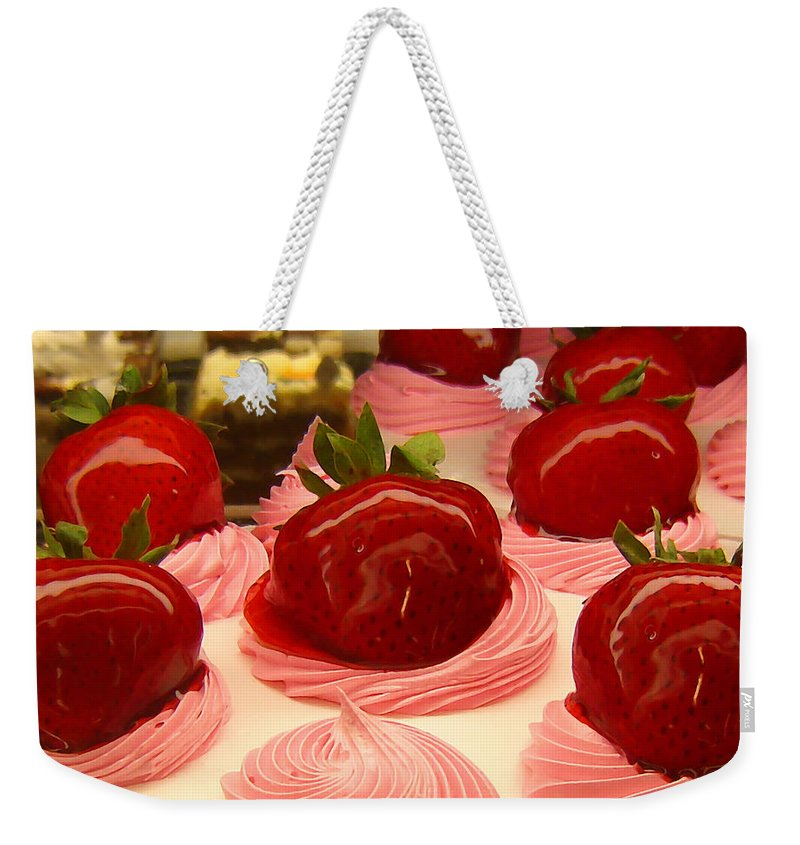 Food Weekender Tote Bag featuring the painting Strawberry Mousse by Amy Vangsgard