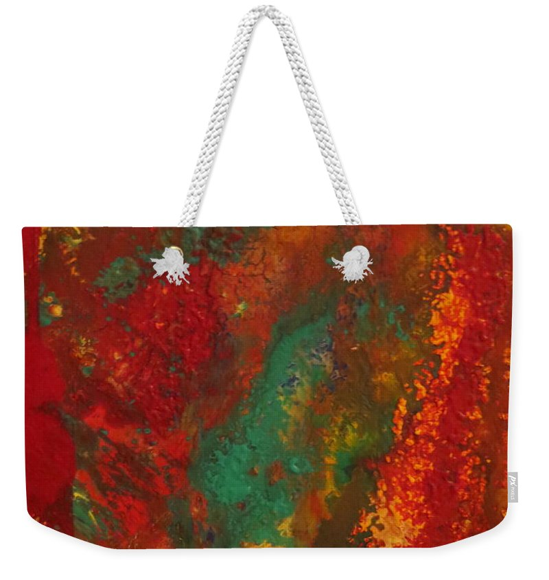 Abstract Weekender Tote Bag featuring the painting Streak  by Soraya Silvestri