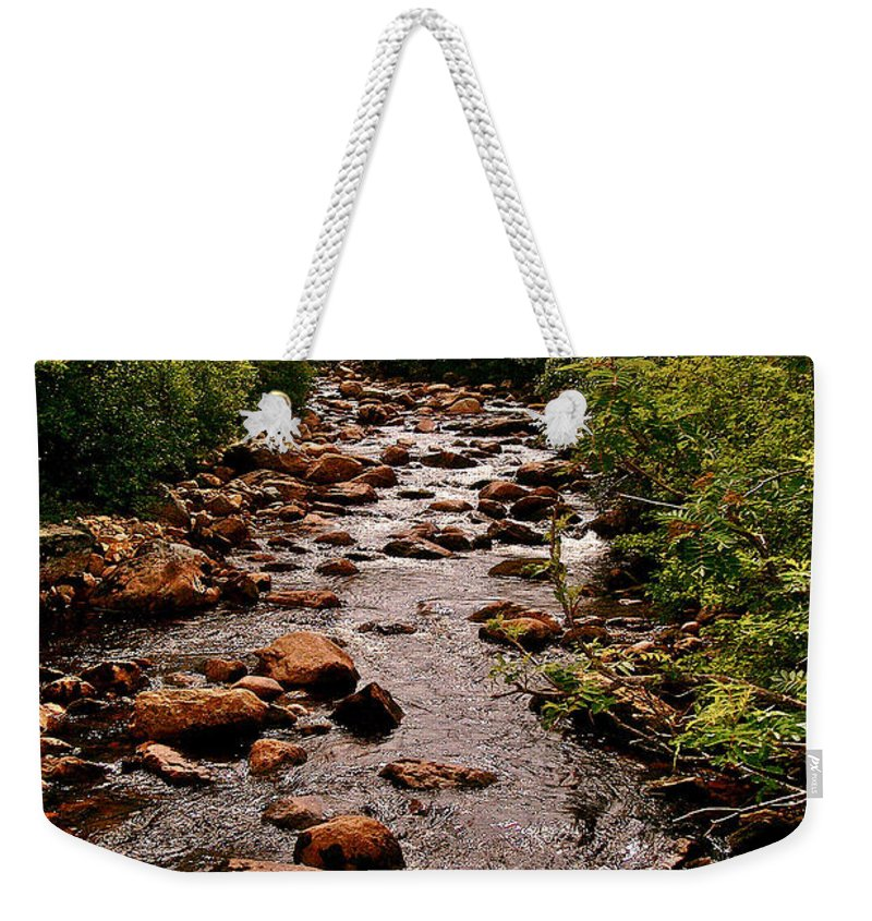 Stream Along Gros Morne Trail In Newfoundland Weekender Tote Bag featuring the photograph Stream Along Gros Morne Trail In Gros Morne Np-nl by Ruth Hager