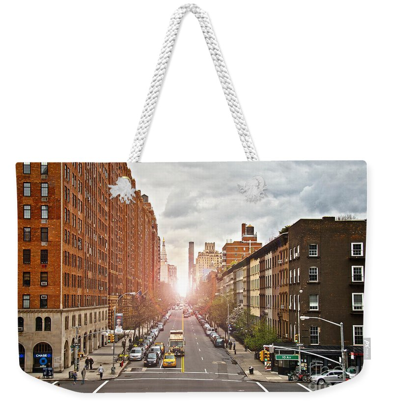 Apartments Weekender Tote Bag featuring the photograph Street As Seen From The High Line Park by Amy Cicconi