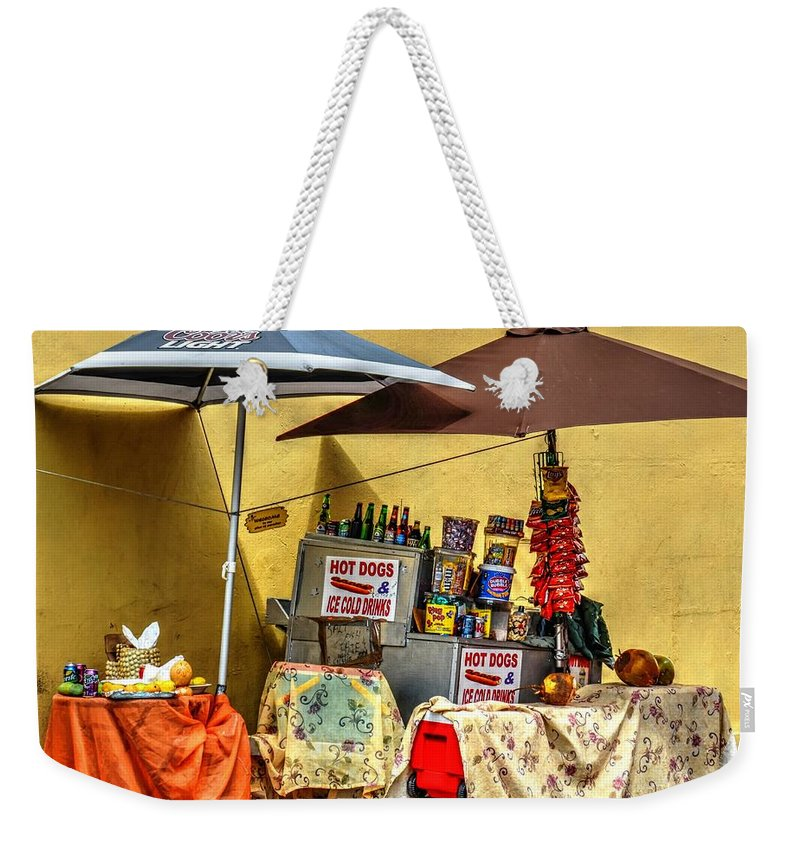 Vendor Weekender Tote Bag featuring the photograph Street Eats by Debbi Granruth