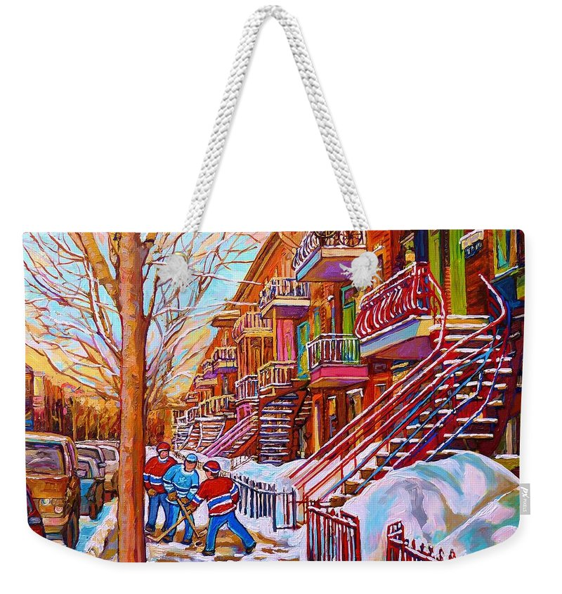 Montreal Weekender Tote Bag featuring the painting Street Hockey Game In Montreal Winter Scene With Winding Staircases Painting By Carole Spandau by Carole Spandau