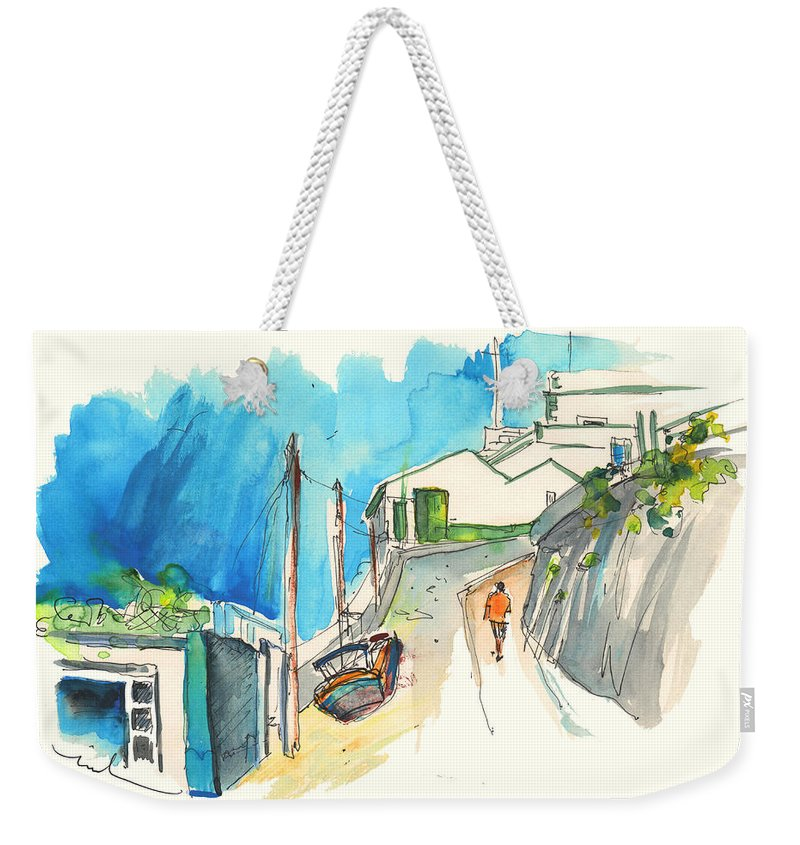 Portugal Art Weekender Tote Bag featuring the painting Street In Ericeira In Portugal by Miki De Goodaboom