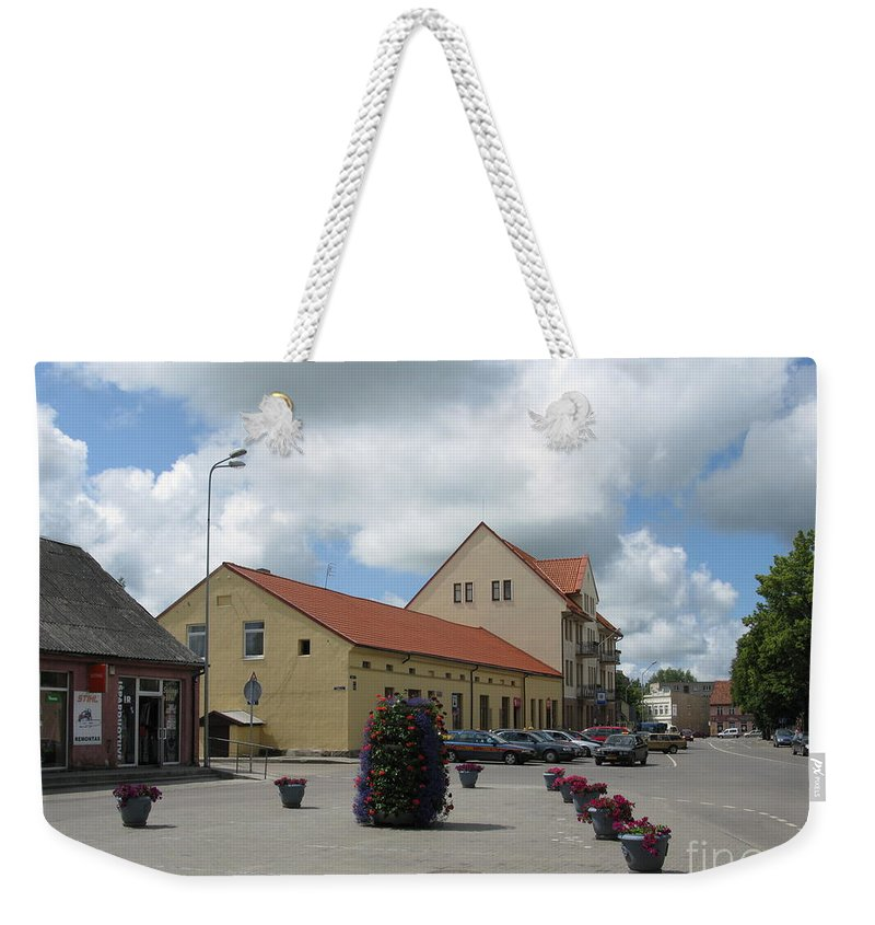Silute Weekender Tote Bag featuring the photograph Street View. Silute Lithuania May 2011 by Ausra Huntington nee Paulauskaite