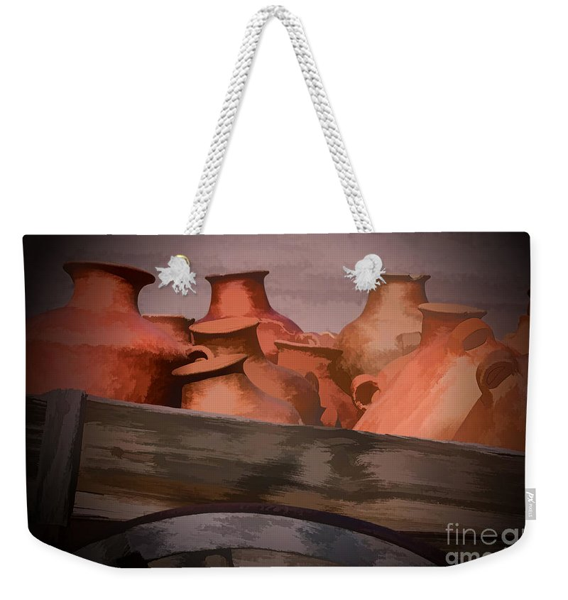 Southwest Weekender Tote Bag featuring the photograph Street Wares Of Tubac by Sandra Bronstein