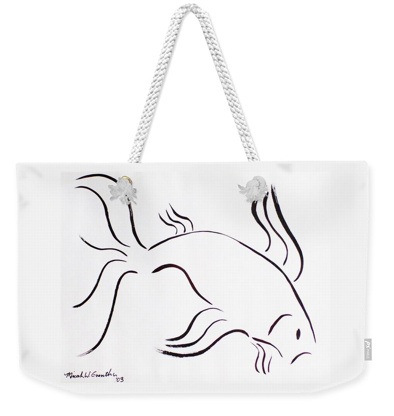 Abstract Weekender Tote Bag featuring the drawing Strength by Micah Guenther
