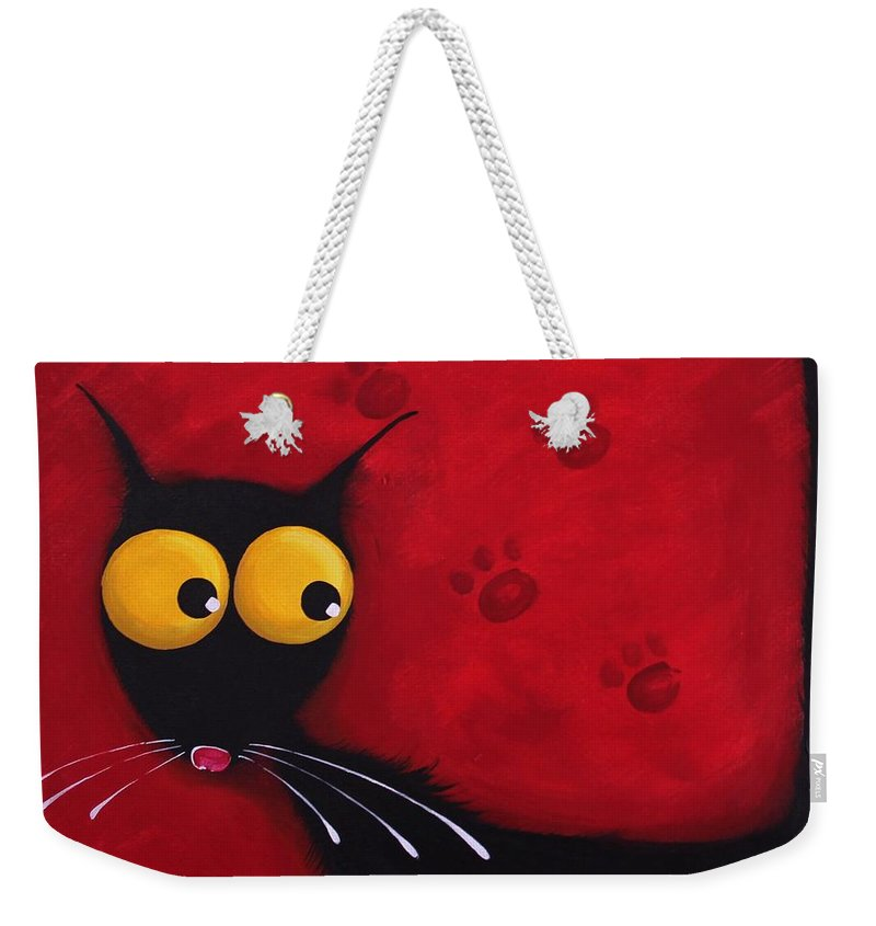 Cat Weekender Tote Bag featuring the painting Stressie Cat by Lucia Stewart