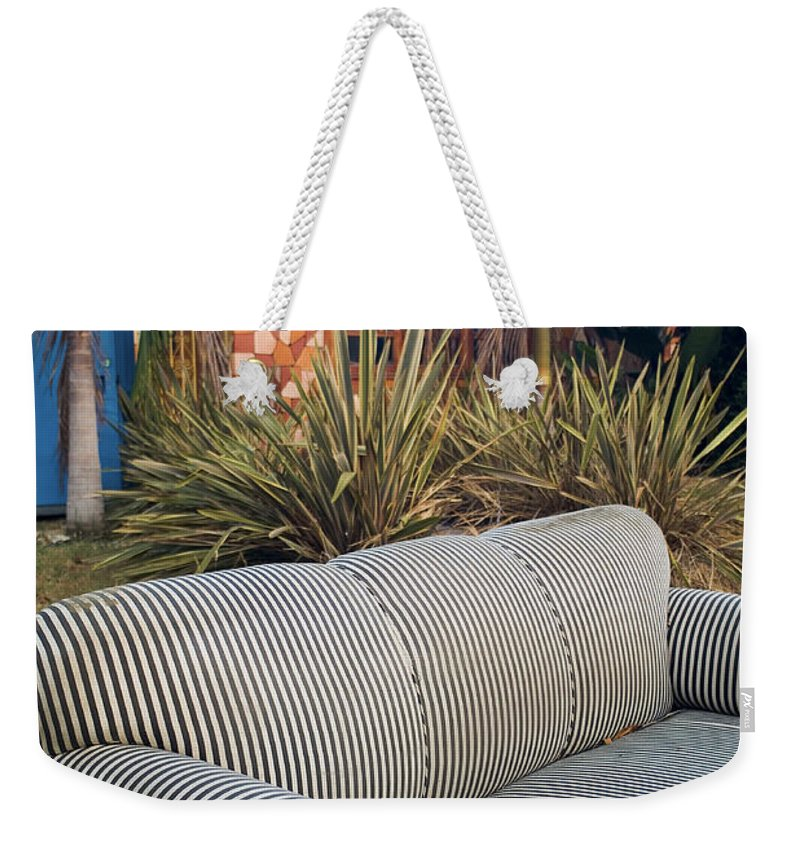 Abandoned Furniture Weekender Tote Bag featuring the photograph Striped Couch II by Robert Mollett