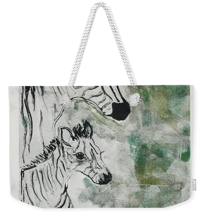 Zebras Weekender Tote Bag featuring the mixed media Striped Duet by Cori Solomon