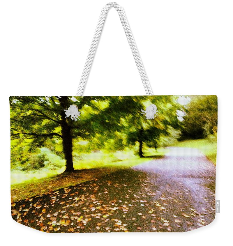 Maple Weekender Tote Bag featuring the photograph Stroll On An Autumn Lane by Angela Rath