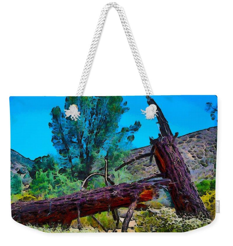 Struck By Lightning Weekender Tote Bag featuring the photograph Struck By Lightning by Barbara Snyder
