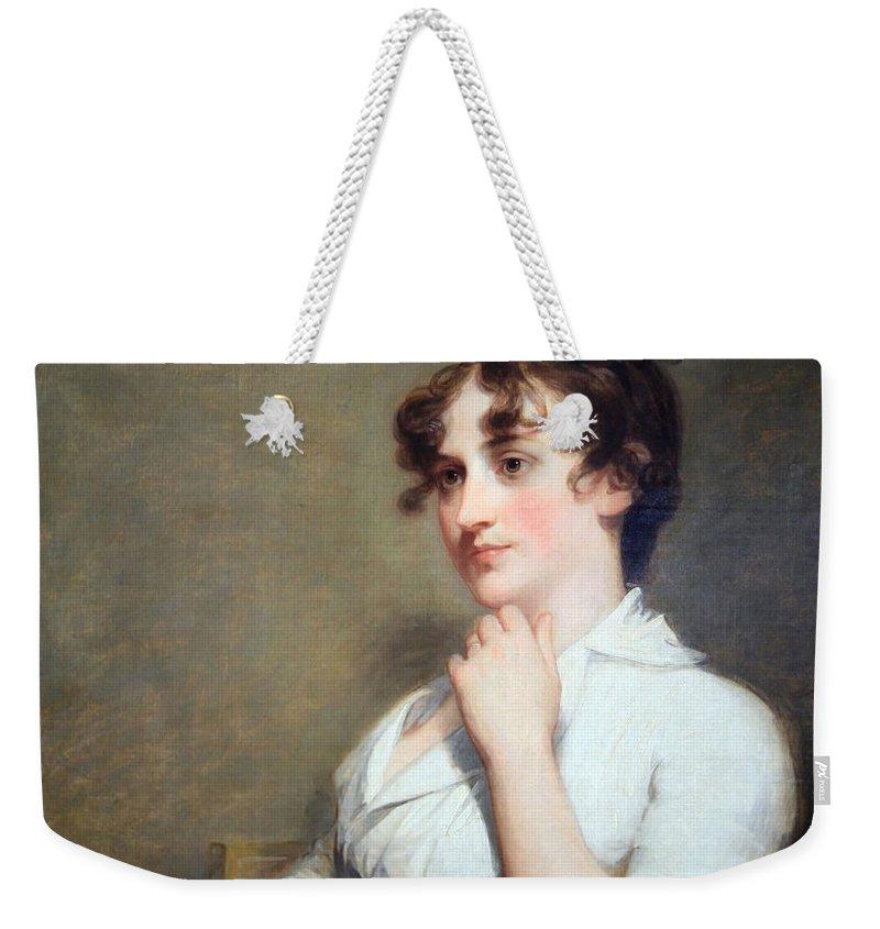 Eleanor Parke Custis Lewis Weekender Tote Bag featuring the photograph Stuart's Eleanor Parke Custis Lewis Or Mrs. Lawrence Lewis by Cora Wandel