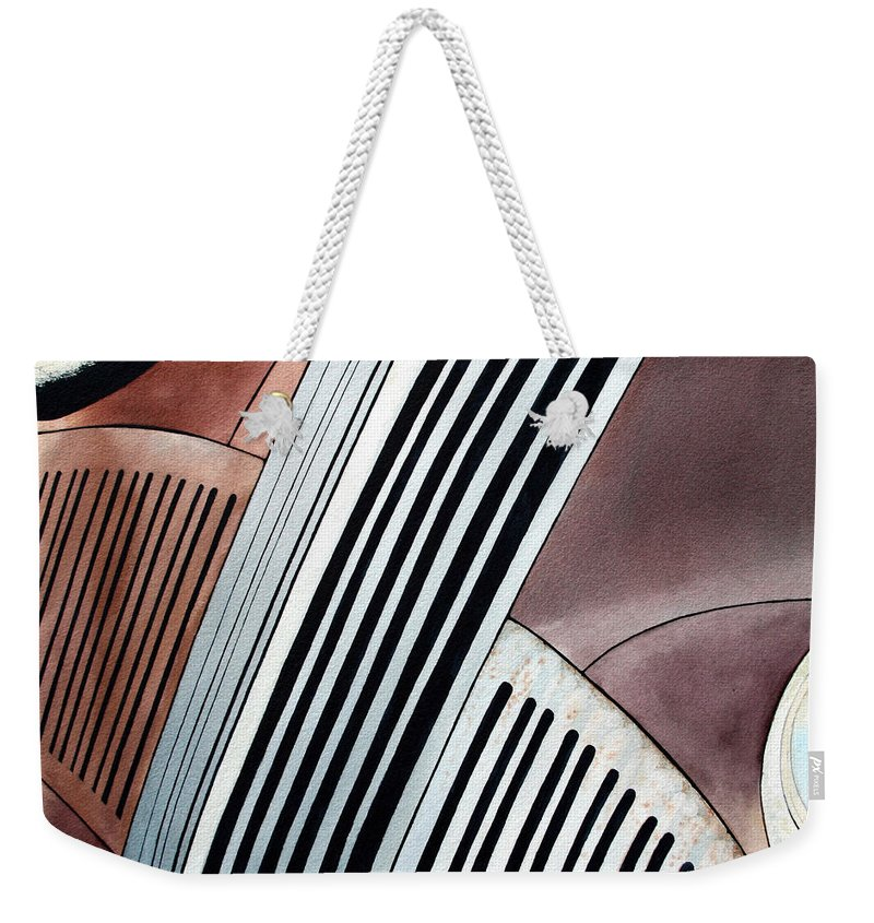 Old Car Weekender Tote Bag featuring the painting Studebaker Bar And Grill by Jim Gerkin