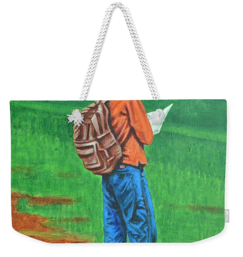 Usha Weekender Tote Bag featuring the painting Studious by Usha Shantharam