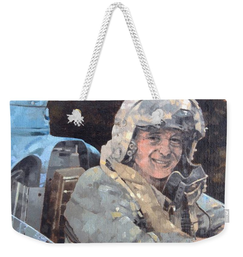 Donald Campbell Weekender Tote Bag featuring the photograph Study For Donald Campbell Oil On Canvas by Peter Miller
