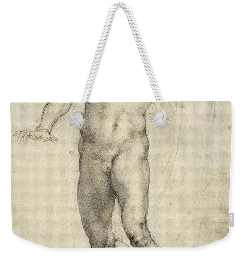 Sketch Weekender Tote Bag featuring the painting Study For The Last Judgement by Michelangelo Buonarroti