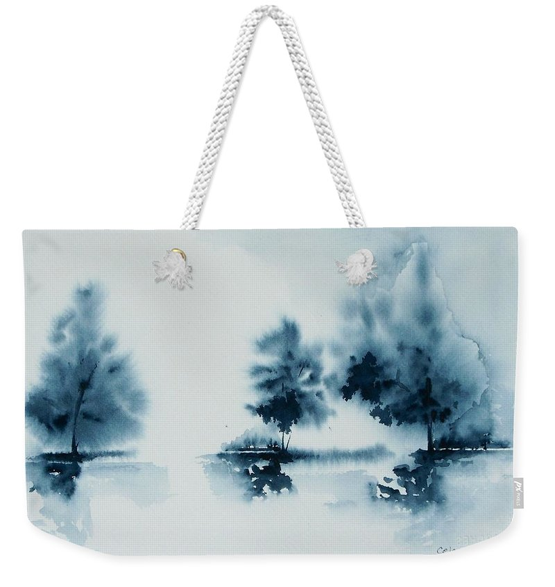 Indigo Weekender Tote Bag featuring the painting Study In Indigo by Celene Terry