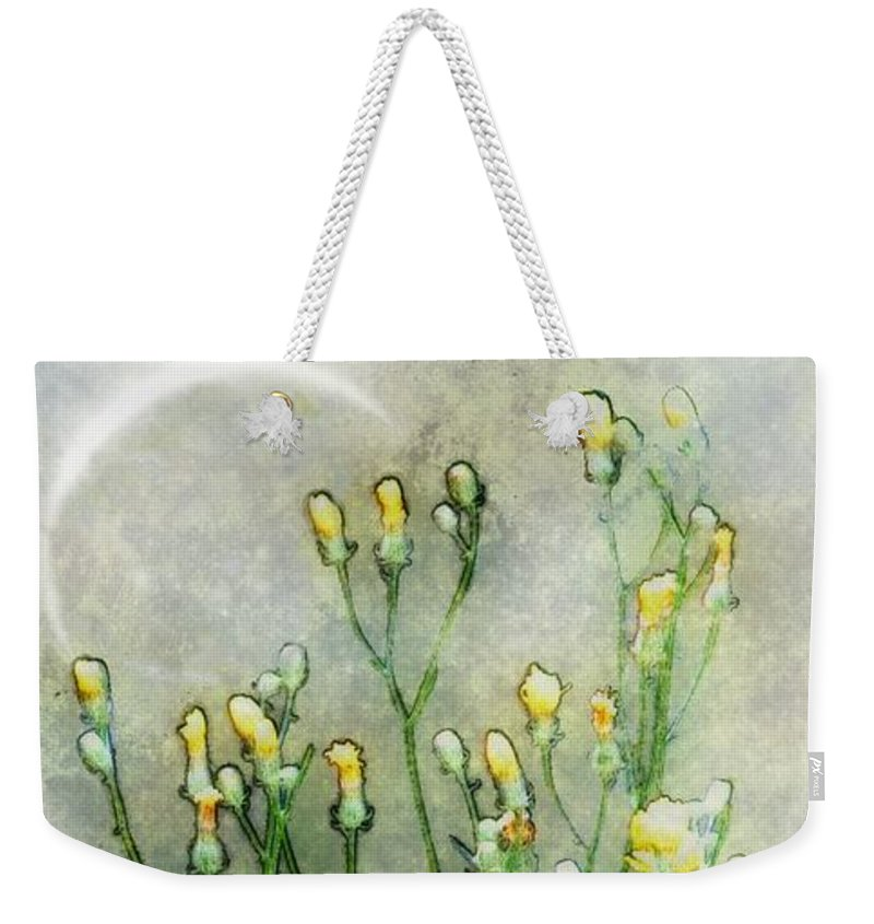 Wildflowers Weekender Tote Bag featuring the painting Nature Study In Moonlight by RC DeWinter