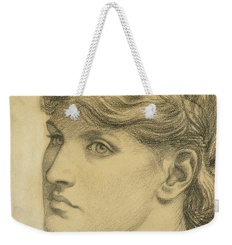 Alexa Wilding Weekender Tote Bag featuring the drawing Study Of A Head For The Bower Meadow by Dante Charles Gabriel Rossetti