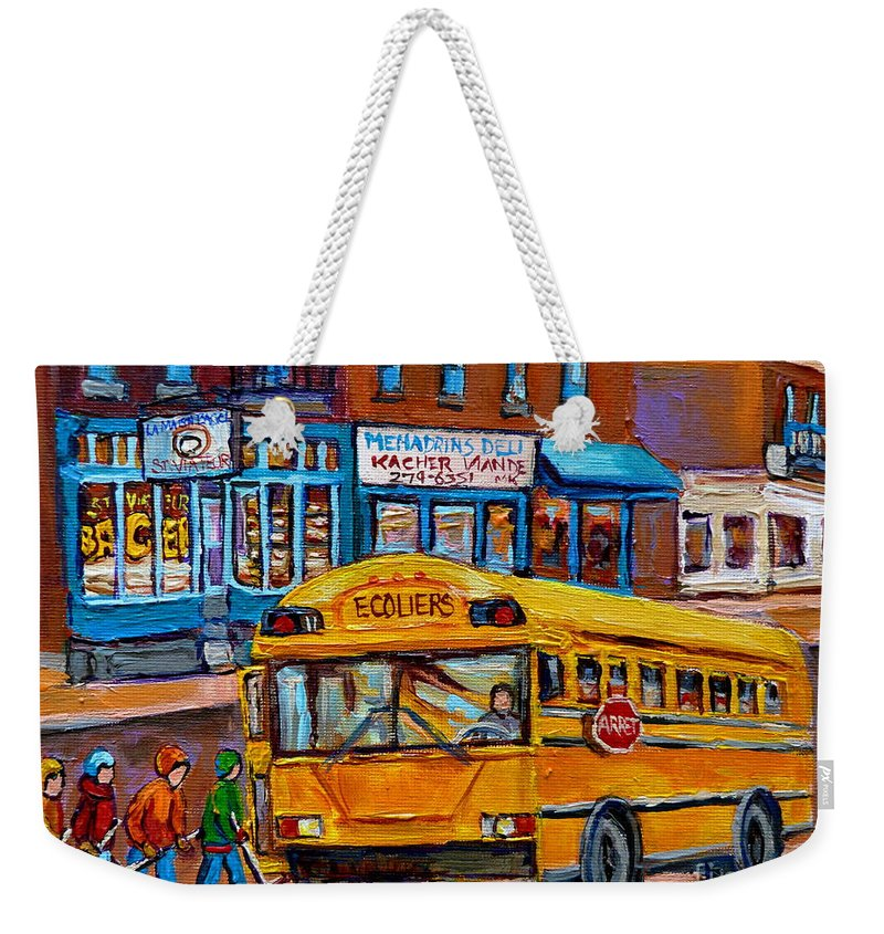 Montreal Weekender Tote Bag featuring the painting St.viateur Bagel And School Bus Montreal Urban City Scene by Carole Spandau