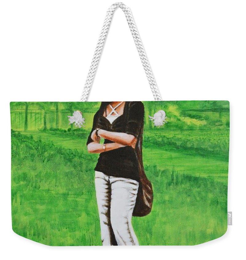 Style Weekender Tote Bag featuring the painting Stylish Miss by Usha Shantharam