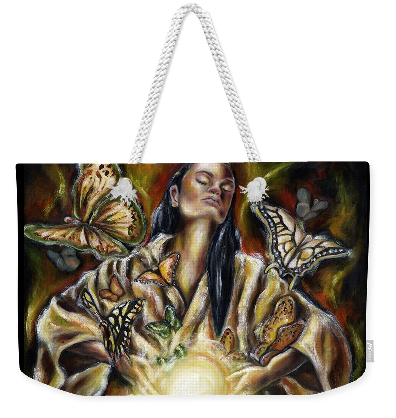 Asian Woman Weekender Tote Bag featuring the painting Sublimation by Hiroko Sakai