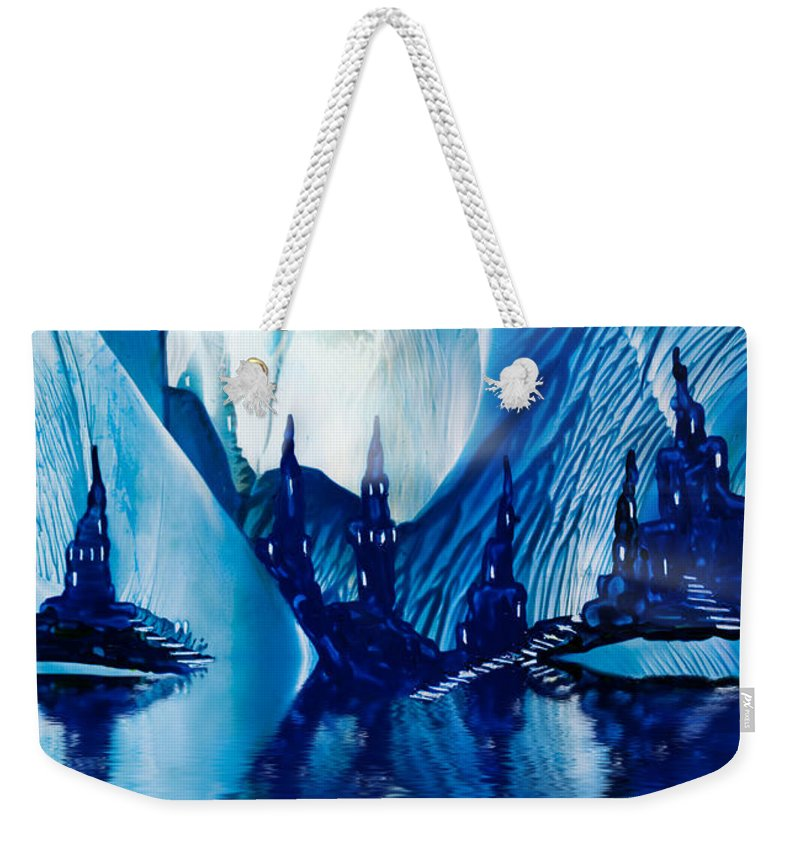Art Weekender Tote Bag featuring the painting Subterranean Castles Wax Painting In Blue by Simon Bratt Photography LRPS