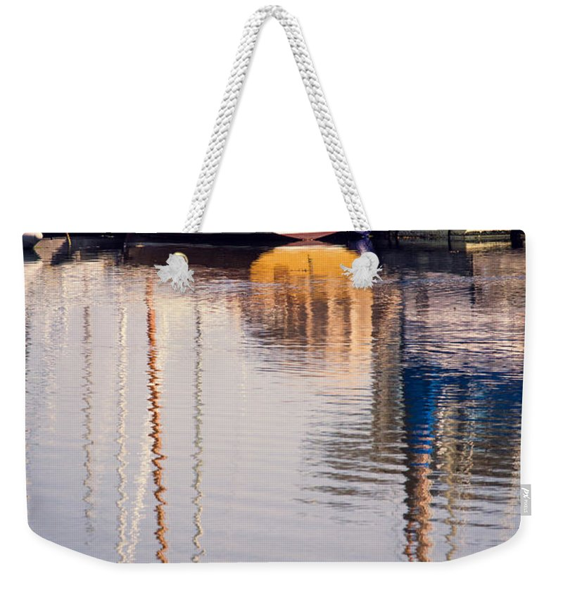 Reflection Weekender Tote Bag featuring the photograph Subtle Colored Marina Reflections by Alanna DPhoto