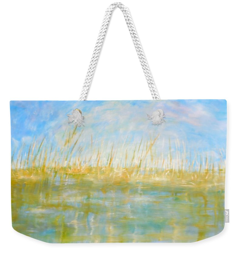 Whimsical Marsh Scene Weekender Tote Bag featuring the painting Subtle Persuasion by Sara Credito