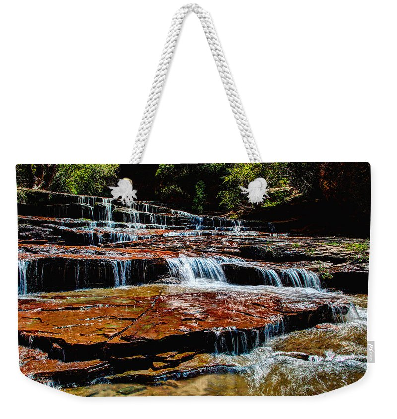 Waterfall Weekender Tote Bag featuring the photograph Subway Falls by Chad Dutson