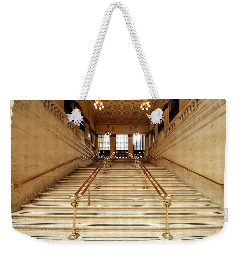 Steps Weekender Tote Bag featuring the photograph Subway Station Staircase,chicago by Lisa-blue