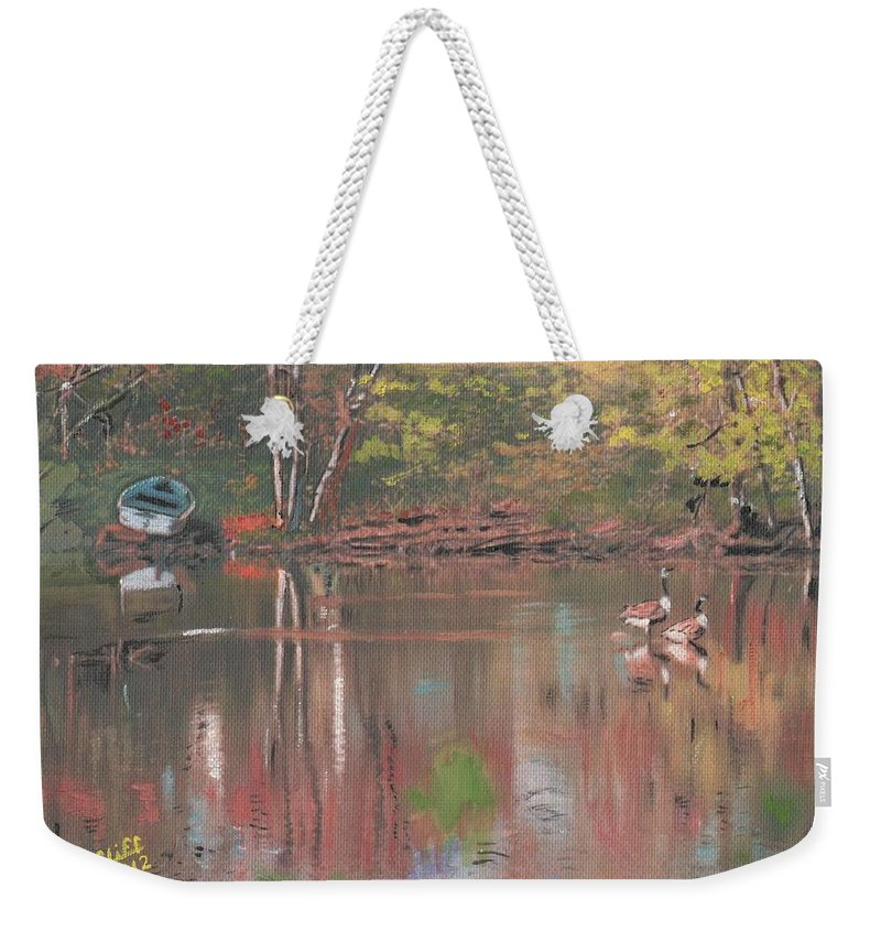 River Weekender Tote Bag featuring the painting Sudbury River by Cliff Wilson