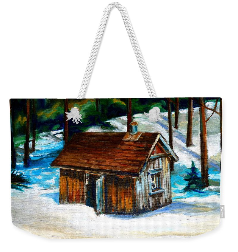 Sugar Shack Quebec Landscape Weekender Tote Bag featuring the painting Sugar Shack Quebec Landscape by Carole Spandau